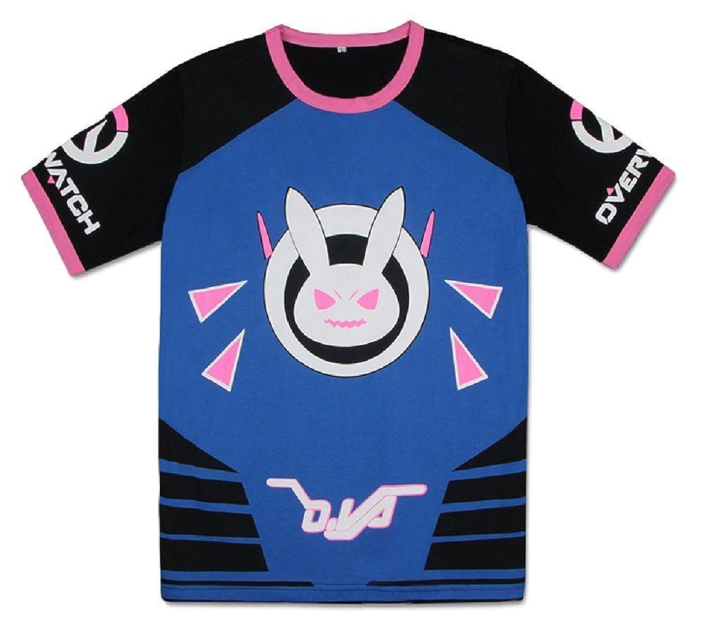 87ccddb0653 GK-O Overwatch D.VA DVA T-Shirt Short Sleeve Anime Tops Cartoon Clothing  Cosplay Tee Black)