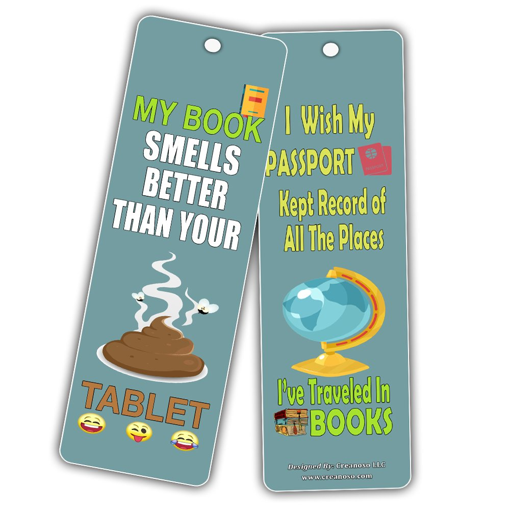 Creanoso Silly Hilarious Literary Bookmarks (60-Pack) – Insanely Funny and Inspiring Bookmarker Cards - Excellent School Teacher Classroom Rewards for Young Readers - Incentive Gifts for Bibliophiles by Creanoso (Image #5)