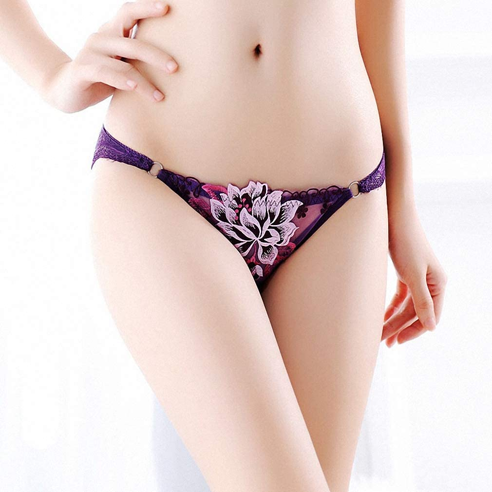 AkovichFarh Women Underwear 3D Lace Embroidery Seamless Transparent Panties Briefs Thongs