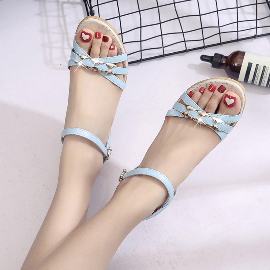 レディースサンダル、Amileyヒール付きサンダルレディース勾配フラットシューズローマサンダル靴女性Flip Flops 6 As-467QAZ88 B0744G2VN5 6 ブルー ブルー 6