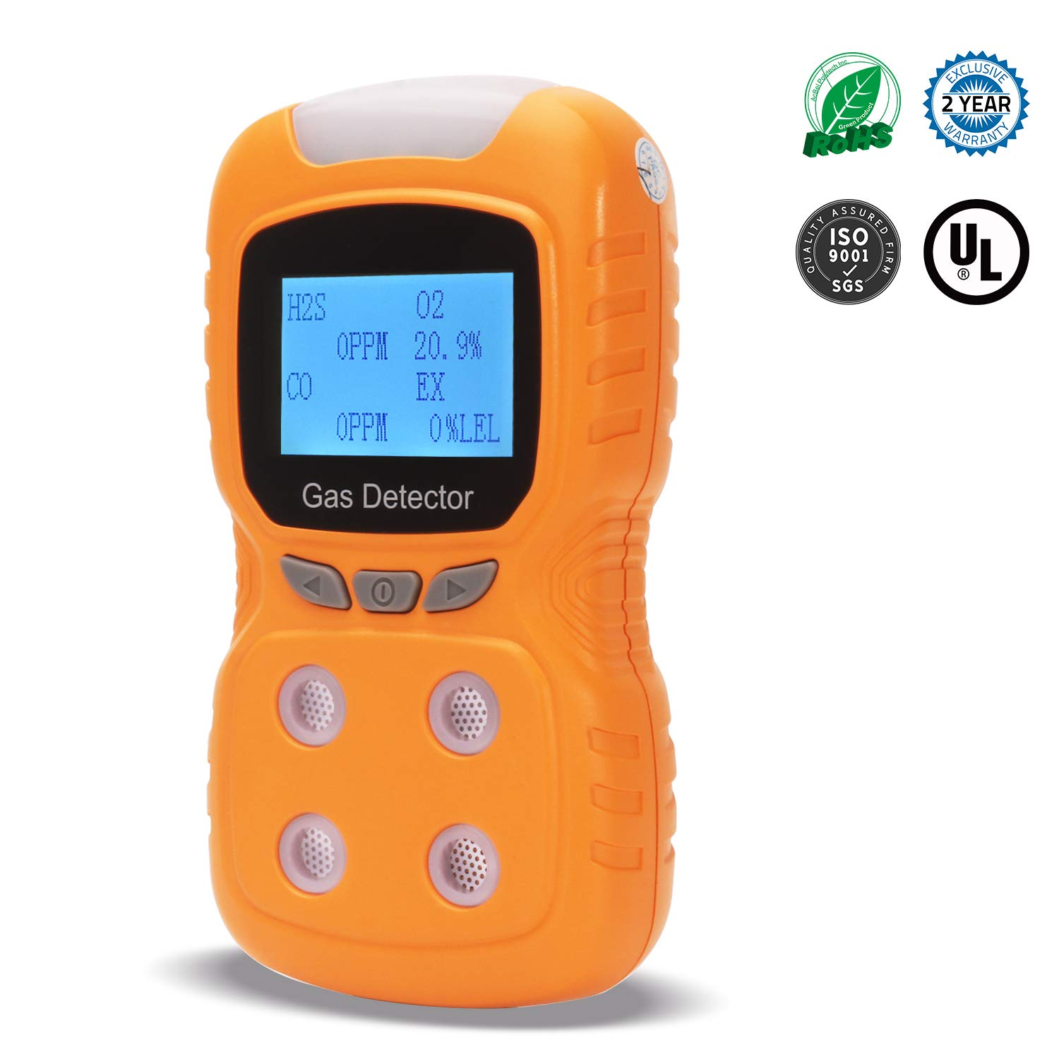 Portable Multi Gas Detector 4 in 1,Koabbit Handheld Air Quality Gas Monitor,Propane,Gas Leak Detector,LCD Backlight Display with Clear Voice Vibration Alarm, Rechargeable Battery, 2 Years Detector by KOABBIT