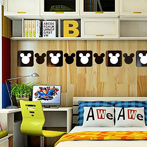 (Square Cut Out Cartoon Mickey Mouse Mirror Stickers Wall Decal For Kindergarten Baby Children's Room Deco,12pcs/lot (Black))