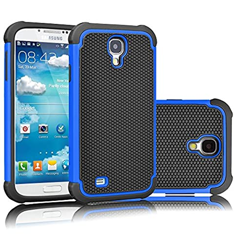 Galaxy S4 Case, Tekcoo(TM) [Tmajor Series] [Blue/Black] Shock Absorbing Hybrid Rubber Plastic Impact Defender Rugged Slim Hard Case Cover Shell For Samsung Galaxy S4 S IV I9500 GS4 All (Cell Phone Cases Galaxy S 4 Mini)