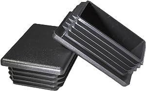 Prescott Plastics 2 x 3 Inch Rectangle Black Plastic Plug End Cap (2)