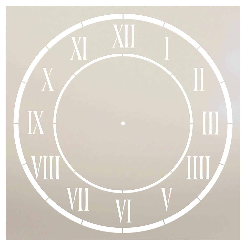 StudioR12 D'Anjou Clock Stencil Roman Numeral Clock Face Art 再利用可能なマイラーテンプレート/ペイント/チョーク/ミックスメディア/クラフト/DIYホームデコレーションに 11