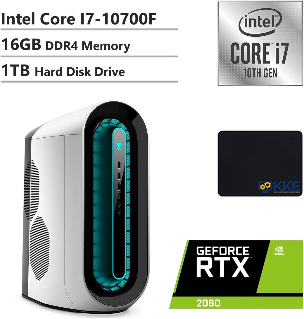 Alienware R11 Gaming Desktop, Intel Core i7-10700F, NVIDIA GeForce RTX 2060, 16GB DDR4 Memory, 1TB HDD, WiFi, HDMI, KKE Mousepad, White/Lunar Light