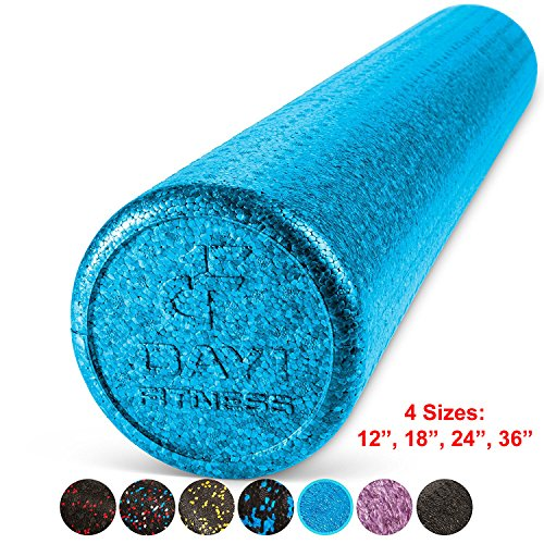 High Density Muscle Foam Rollers by Day 1 Fitness - Sports Massage Rollers for Stretching, Physical Therapy, Deep Tissue and Myofascial Release - For Exercise and Pain Relief - Solid Blue, 36