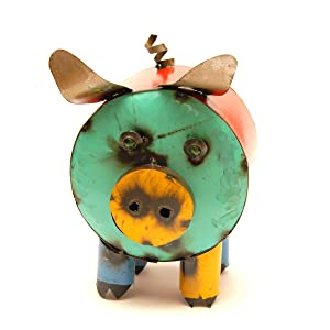 Rustic Arrow Cylinder Pig Garden Art Multicolor