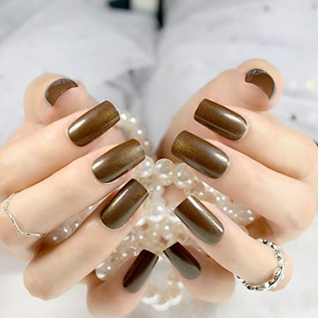 Amazon.com: 24Pcs Medium False Nails Square Head Acrylic Fake Nail Glitter Brown Full Cover Nail Tips Fuax Ongles Finger Art brown: Beauty