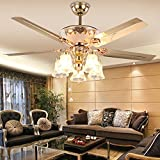 Andersonlight Art Deco Ceiling Fan Remote Control with 5 Metal Golden Blades 5 Glass Flower Shades, Reversible Quiet Motor, Adjustable Down Rods 4.9in/9.8in, Multi-Speed, Indoor Fan Light Kit (52 in)