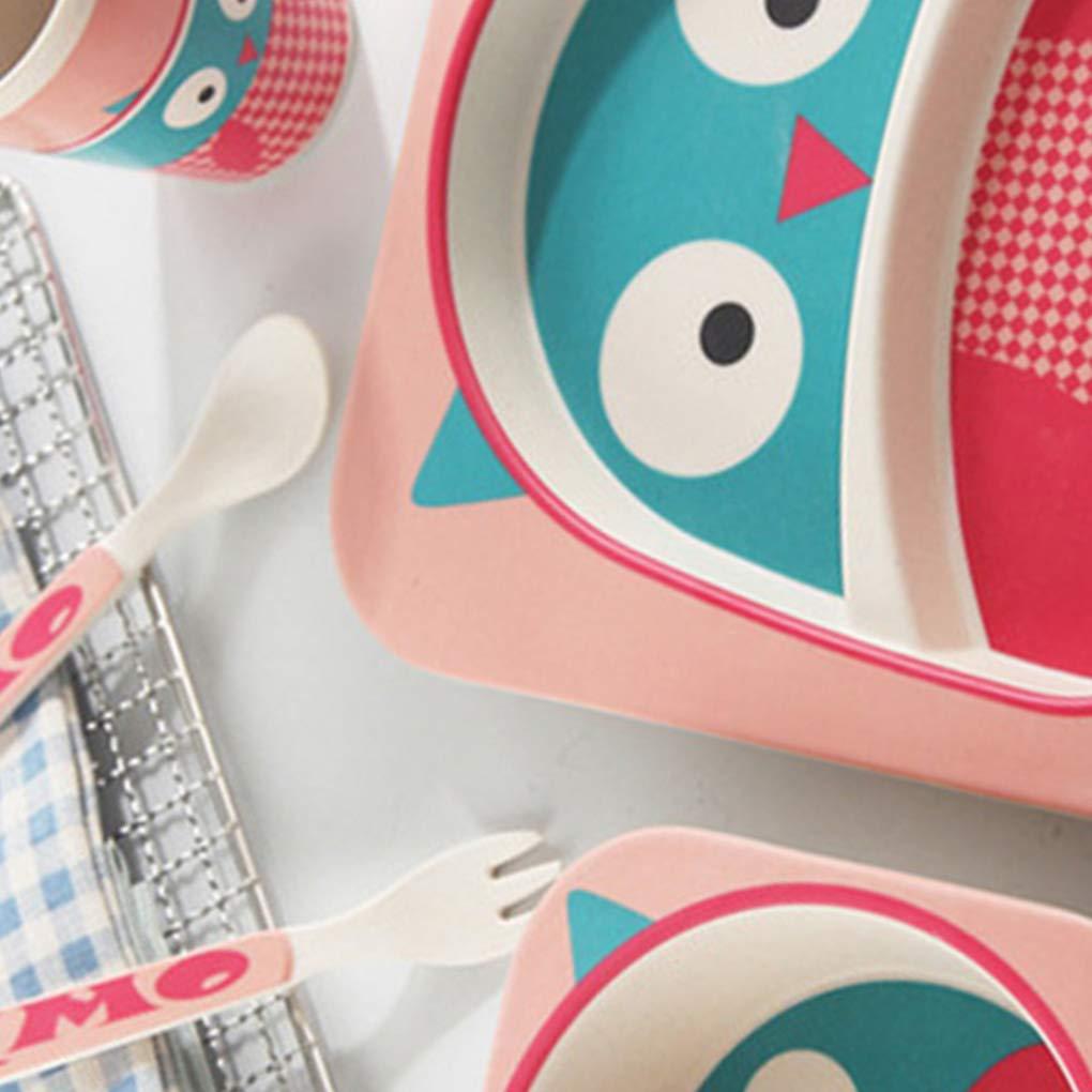 Mengonee Enfants Arts de la Table Set 5pcs bébé Cartoon Fibre de Bambou Bol Animal de Vaisselle Enfant en Bas âge Coupe Fourchette cuillère