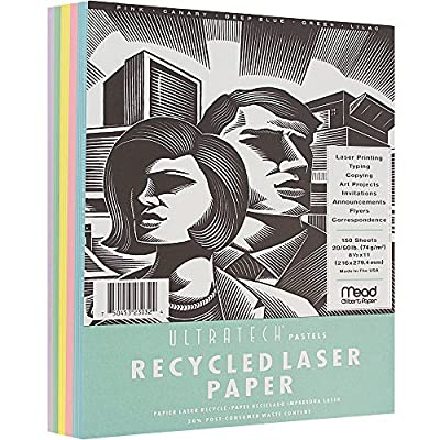 """JAM Paper UltraTech Recycled Pastel Laser Paper Assortment Pack - 8 1/2"""" x 11"""" - 5 Pastel Colors - 100 Sheets per Pack"""