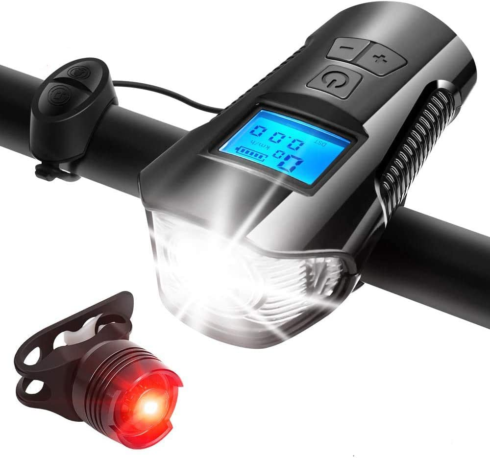 LED Bicycle Front Light USB Rechargeable Display Power Headlight+Horn+Rear Lamp