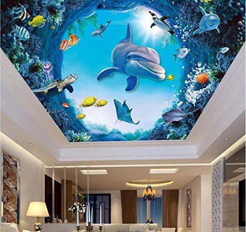 Weaeo カスタム写真3D天井の壁画の壁紙海の世界イルカの魚の家のインテリア居間の壁3Dの3D壁の壁紙の壁紙-400X280Cm