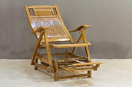 LSHUAIDJ Silla Mecedora de bambú/Silla Plegable/balcón ...