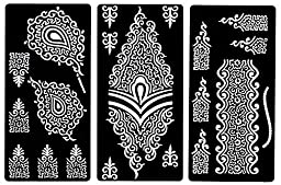 Zaffron Henna Mehendi Mehndi Stencil Sheets for Eid Ramadan Mehendi Raat or Wedding Parties (Design Pack 1, Set of 6 Sheets)