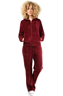 1acb288ba74 Womens Velour Full Tracksuit Hoodie And Jogging Pants Ladies Drawstring  Zipper Joggers Sport Gym Normal And