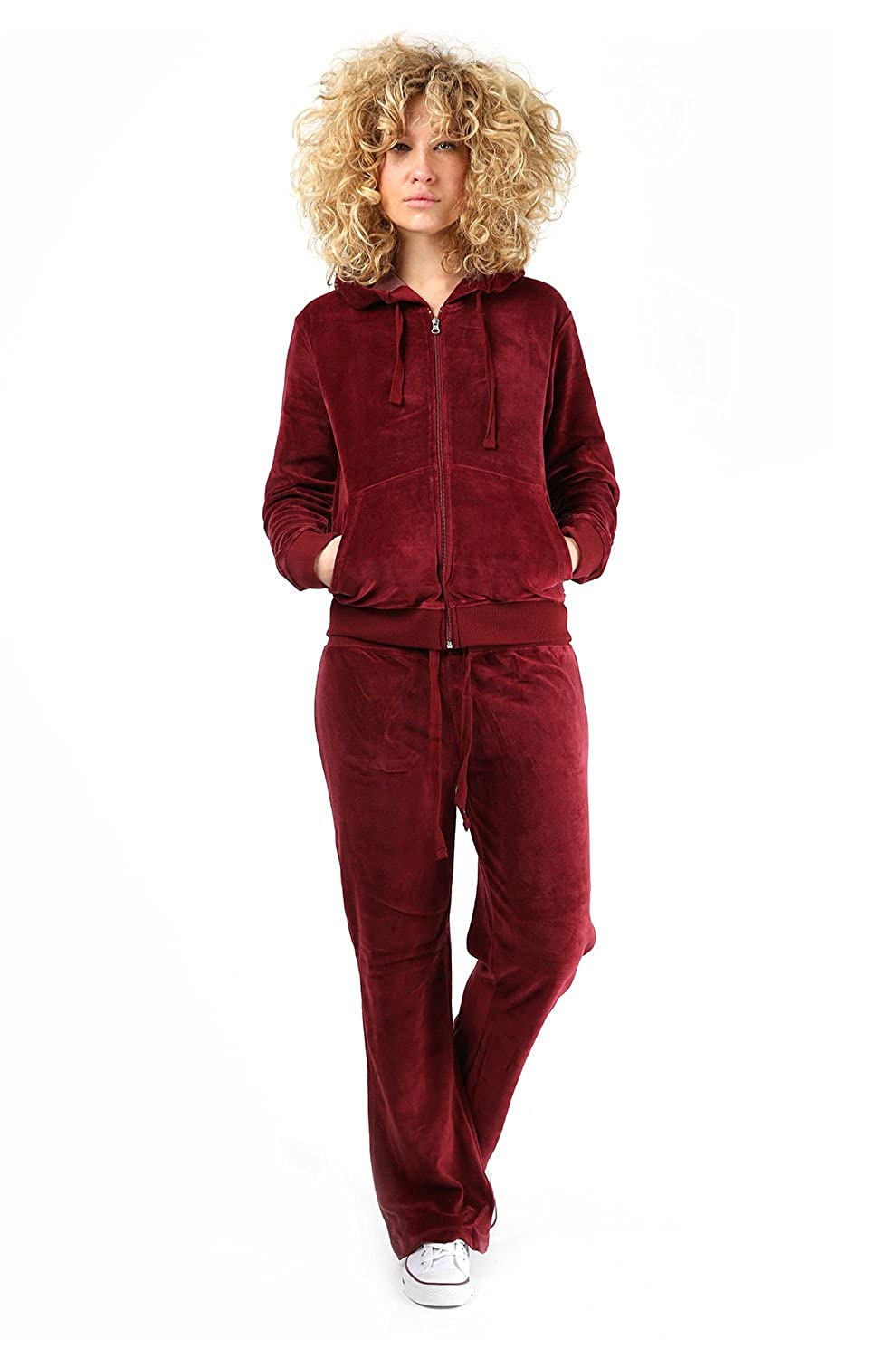 Womens Velour Full Tracksuit Hoodie And Jogging Pants Ladies Drawstring Zipper Joggers Sport Gym Normal And Plus Sizes 2 Piece Set