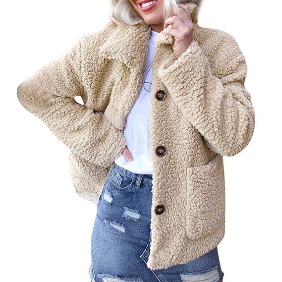 d9026885b960ab Riou Winterjacke Damen Herbst Winter Warm Künstliche Wollmantel Jacke  Revers Elegant Kunstpelz Parka Oberbekleidung: Amazon.de: Bekleidung