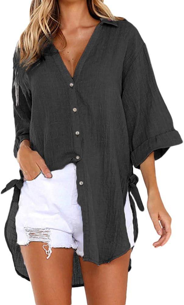 WARMWORD Mujer Tops Camisetas Dama Suelto Botón Camisa Larga Vestir Algodón Señoras Casual Tops Camiseta Blusa Camisetas Damas Tallas Grandes Camisa de Mujer de Moda Sexy Mujer Ropa: Amazon.es: Ropa y accesorios