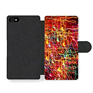 Long Exposure Colourful Wavy Lights New Pattern Style Design Faux Leather case for iPhone 4 4S