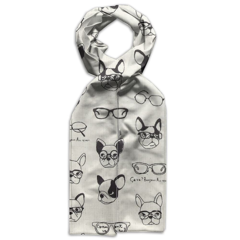 Pug Dog Face Glasses Young Gift Box Neck Polyester Scarves