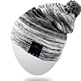 Rotibox Wireless Bluetooth Beanie Hat Pom Pom Headphone Headset Music Audio Cap for Women Men with Speaker & Mic Hands Free Outdoor Sports for Iphone 7/ 7 plus,Samsung,Best Christmas Gifts - Black