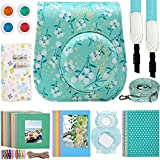Katia Camera Accessories for Fujifilm Instax Mini 9 or Mini 8 Instant Film Camera- Fuji Instax Mini Case MINT FLOWER with Strap, Polaroid Accessories Photo Album, Frame, Selfie Len, Filters, Stickes