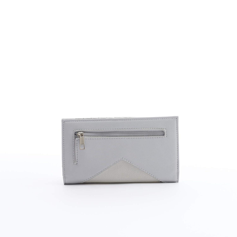 18f745c138bd Sophie Simple Elegant Flat Grey 8 x 5 Vegan Leather Snap Closure ...