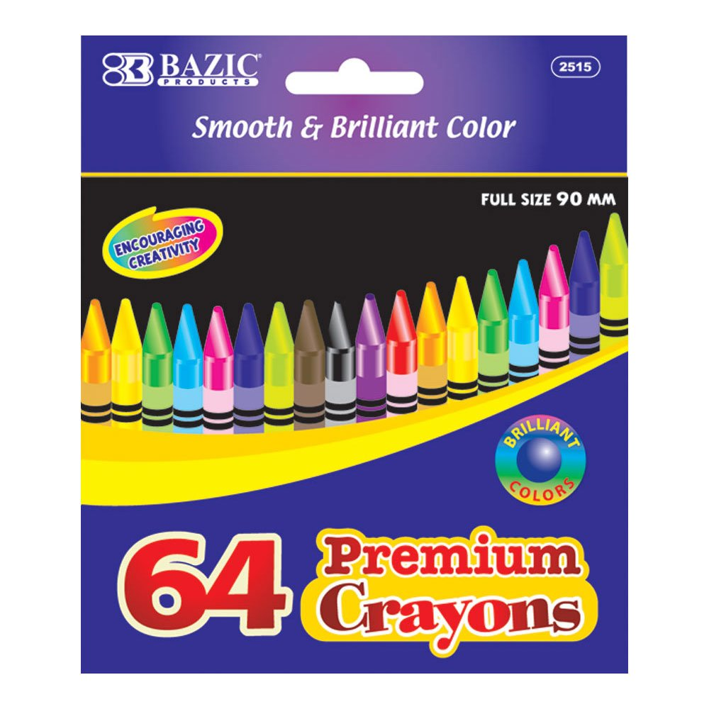 BAZIC 64 Count Premium Quality Color Crayon, Case of 24 (2515-24)