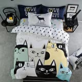 Sisbay Fashion Cartoon Cat Bed Set Twin White Color for Boys Girls,Kitty Print Duvet Cover,Kids Fresh Simple Bed Sheet,3pcs