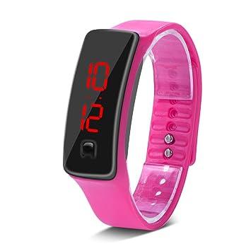 Deportes Reloj LED con Correa de Silicona Reloj Digital de Pulsera con Pantalla Electrónica de 12 Horas para Niños 8 Colores(Rosa): Amazon.es: Deportes y ...