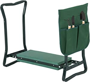 Smartxchoices Folding Garden Kneeler Seat Garden Bench Stool with Handles, Multi-use Pouch, Heavy Duty Yard Gardening Chair with Soft Kneeling Pad,Green