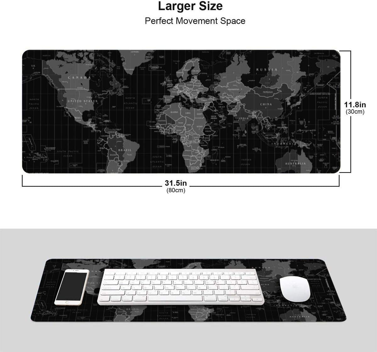 AMBER SMITH Large Gaming Mouse Pad World Map XXL Mouse Mat 35.5x12 Anti-Fray Stitching for Professional Esports with Low-Friction Tracking Surface and Non-Slip Backing