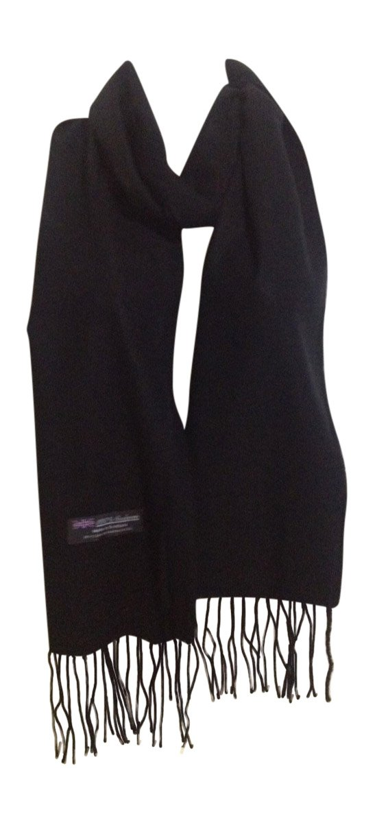 Memory Wear 100% Cashmere Plain Style Scarf, Super Soft - Black