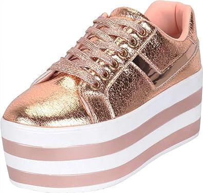 34bdb3e2b5a59 Cambridge Select Women's Low Top 90s Lace-Up Striped High Platform Flatform  Fashion Sneaker