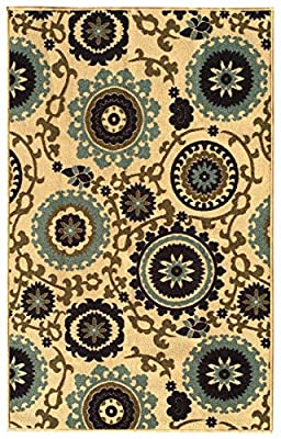 Rubber Backed Non-Slip Floral Swirl Medallion Ivory Blue Beige Multicolor Rugs and Runners - Rana Collection Kitchen Dining Living Hallway Bathroom Pet Entry Rugs