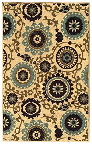 [해외]고무 뒷면 미끄럼 방지 꽃 소용돌이 메달 아이보리 블루 베이지 다색 러그 및 러너 -라나 컬렉션 주방 다이닝 리빙 복도 욕실 Pe/Rubber Backed Non-Slip Floral Swirl Medallion Ivory Blue Beige Multicolor Rugs and Runners - Rana Collection K...