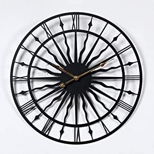 """LightInTheBox Country Style 20"""" Round Wall Clock Solid Large Clock Black Modern Design for House Warming Gift Wall Decor"""