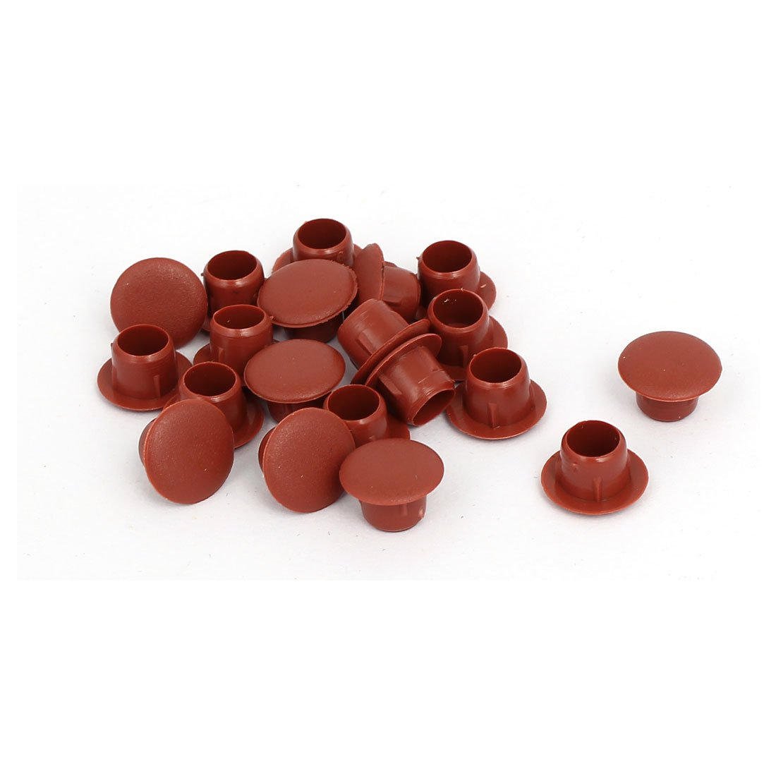 uxcell 8mm Dia Plastic Round Flush Mounted Tube Insert Hole Cover Brown 20pcs
