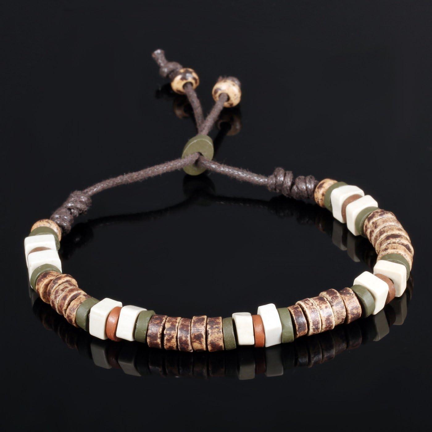 iLove EU Bracelet en c/éramique et porcelaine Bracelet Manchette Corde Surfer Surf Enroulement r/églable Convient pour homme et femme de 7 /à 9 pouces tribal