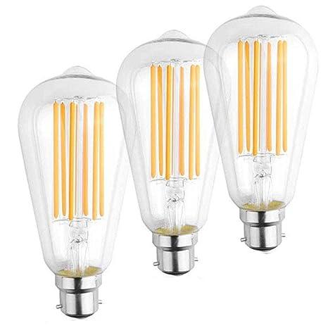 Bonlux 3-pack 12W ST64 LED Luz Cálida 2700k Edison Bombilla Lámpara de Filamento Con