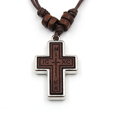 Olive wood russian orthodox cross pendant hemp cord necklace for men olive wood russian orthodox cross pendant hemp cord necklace for men wowen childrennika aloadofball Images