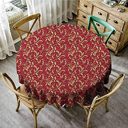 Striped Ruby Leaf - Rank-T A Variety of Colors to Choose from Round Tablecloth 40
