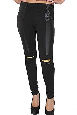 bee65a20aaa8e Women Gold Slashed Knees With Shiny Stripe Side Skinny Black Leggings 8 10  12 14: Amazon.co.uk: Clothing