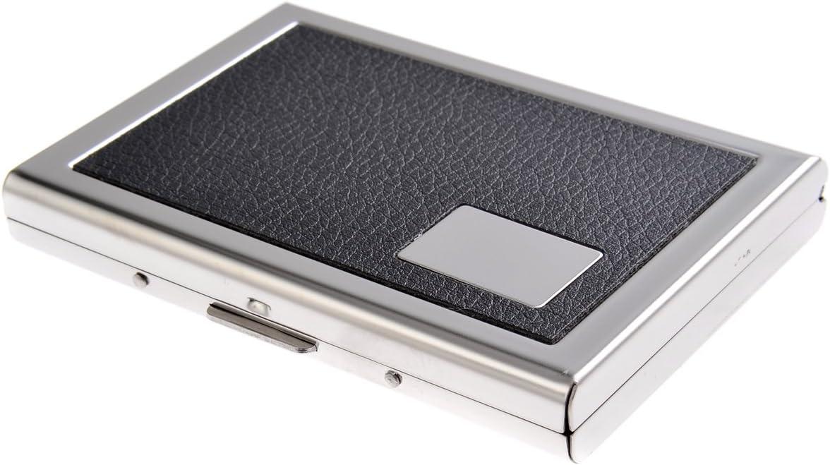 Tarjetero/Estuche para tarjetas de visita, hecho de acero inoxidable, con incrustación de polipiel y 6 compartimentos, de negro, 446-05 (DE): Amazon.es: Oficina y papelería