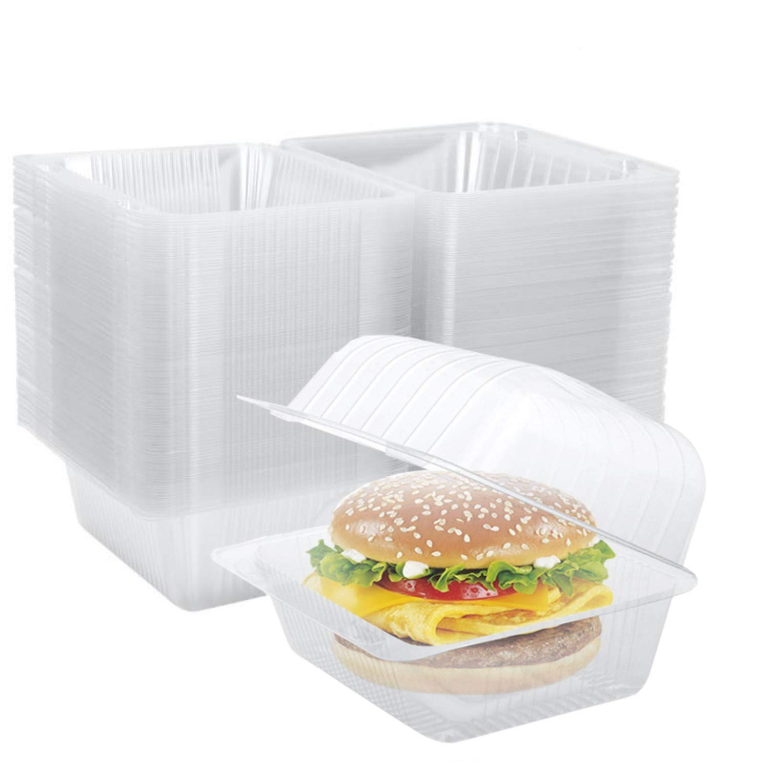 Clear Plastic Hinged Container 70 PCS, 5.5