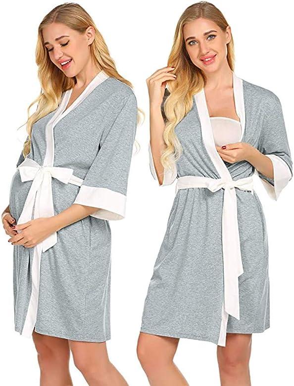 Conquro Bata de Maternidad Bata de Maternidad hospitalaria Vestido de Lactancia Materna Vestido de Embarazadas para Ropa de Maternidad Moda Mujeres Madre Casual Verano Vestidos: Amazon.es: Ropa y accesorios