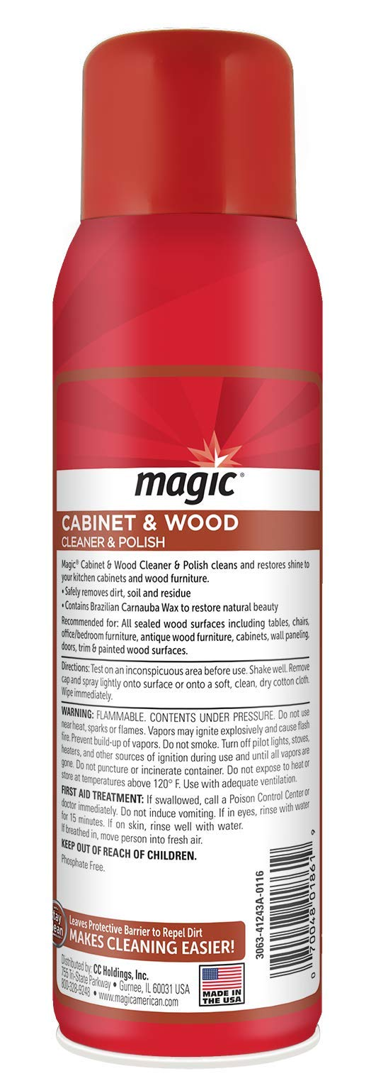 Magic Wood Deep Cleaner and Polish - 17 Ounce [2 Pack] - Heavy Use Wood Furniture Cabinet Table Chair Natural Brazilian Carnauba Wax and Oil - Streak Free by Magic (Image #2)
