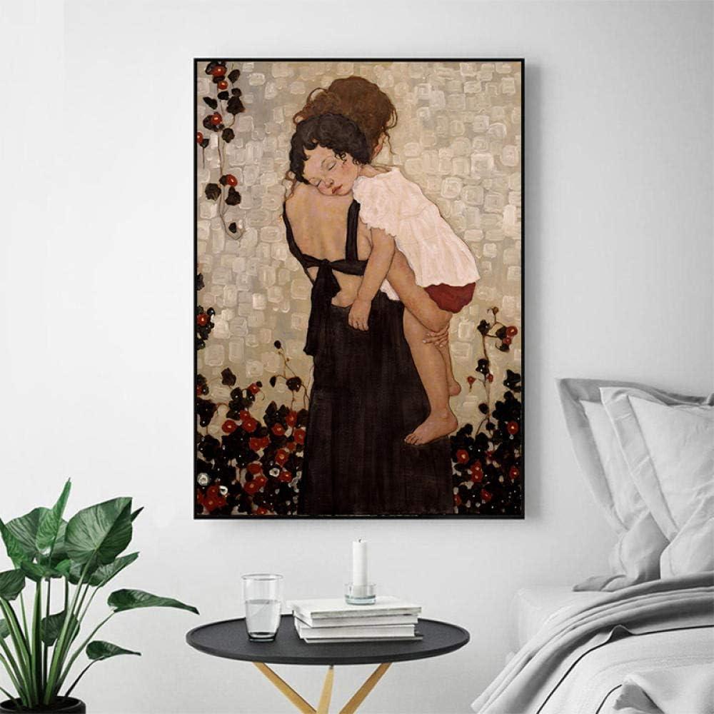 Chihie Modem Wohnkultur Xi Pan Mutter Und Kind Leinwand Malerei Abbildung Drucke Und Poster Auf Leinwand Wand Picture 50cm x75cm Kein Rahmen